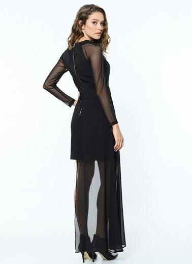 Koton Kolları Şifon Mini Elbise Siyah